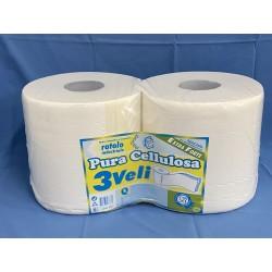 rotoli pura cellulosa 3 veli peso del rotolo kg. 2 - peso della confezione kg. 4